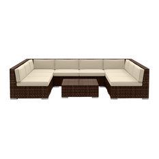 9-Piece Modern Outdoor Sofa Set, Brown