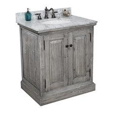 31-inch Rustic Solid Fir Sink Vanity Gray No Faucet