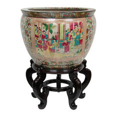 "16"" Rose Medallion Porcelain Fishbowl"