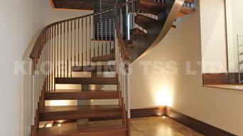 Walnut & Stainless Steel Spine Staircase VM8342