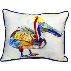 Betsy Drake Pelican On Rice Extra Large 24 X 20 Indoor Outdoor Pillow Contemporary Outdoor Cushions And Pillows By Zeckos Houzz
