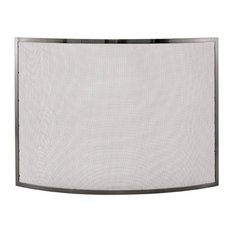 Pemberly Row Single Panel Curved Pewter Fireplace Screen