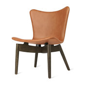Mater Shell Modern Lounge Chair, Tan Leather, Sirka Gray