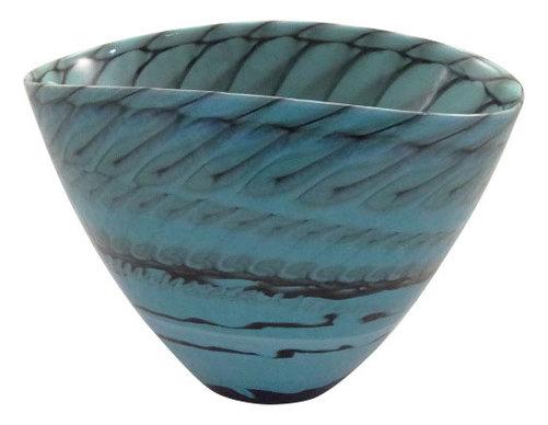 Belus Murano Glass Bowl Tourquese Black Mother Of Pearl Vase Beach