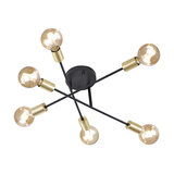 Industrial Ceiling Lamp 6 Black and Brass - Sydney