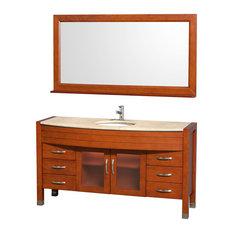 "Single Bathroom Vanity, Ivory Marble Countertop, White Sink, Mirror, Cherry, 60"""