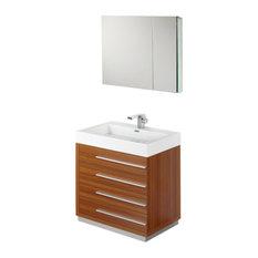 "Fresca Livello 30"" Teak Modern Bathroom Vanity With Medicine Cabinet"