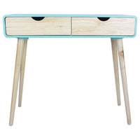 31.5' Aqua Console Table with 2 Drawers