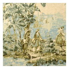 "Bosporus Flax Toile Blue Shower Curtain, 96"", Lined"