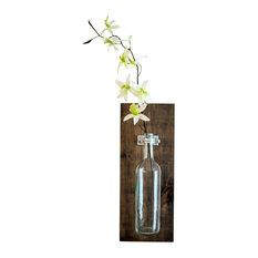 Wine Bottle Wall Vase, Honey, Single Vase