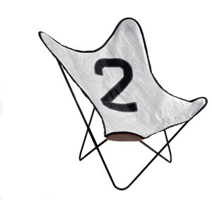 Recycled Sailcloth Butterfly Chair, Grey and Black