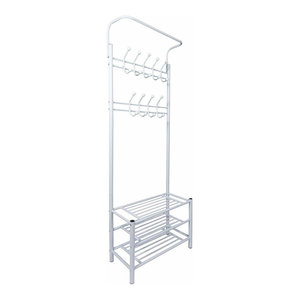 Contemporary Storage Organiser, Metal With 3 Open Shelves and 18-Hook, White