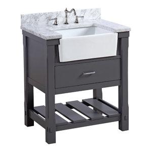 "Charlotte Bathroom Vanity, Charcoal Gray, 30"", Carrara Marble Top, Single Sink"