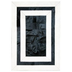 Black and White Cowhide Rug, 150x210 cm
