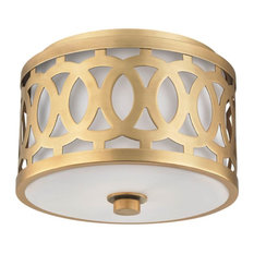 Hudson Valley Genesee 1-Light Small Flush Mount, Aged Brass