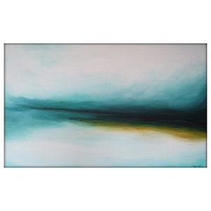 Large Abstract Landscape Painting on Canvas Modern Acrylic Skyline- 30x48- White