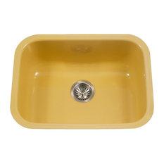 Porcelain Enamel Steel Bowl Kitchen Sink, Lemon