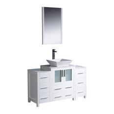 "Fresca Torino 48"" White Vanity w/ 2 Side Cabinets & Sink"