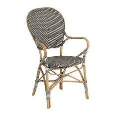 Isabell Outdoor Bistro Stacking Arm Chair, Cappuccino and White