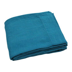 Marine Blue Stone Washed Bed Linen Flat Sheet, Queen