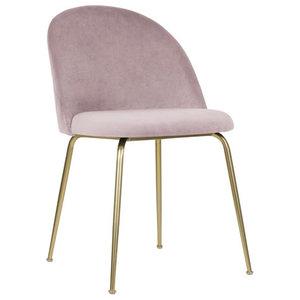 Velvet Brass Modern Dining Side Chair, Rose