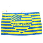 """Hilaire Productions - Boston Strong Beach Towel, Four Star - This patented design beach towel is made of cotton with a """"Boston Strong"""" heart and star print in blue and yellow colors. It has a drawstring attachment to make it easy, comfortable, and secure to wear at the beach, pool, or sauna. A hidden and water-resistant zippered storage pocket makes transporting it and other items safer and easier. Conceal your phone, iPod, keys, wallet, and anything else while on-the-go."""