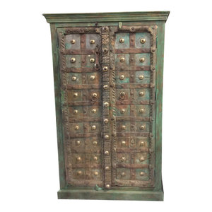 Mogul Interior - Consigned Antique Floral Carved Wood Armoire Green Moroccan Storage Cabinet - Armoires And Wardrobes