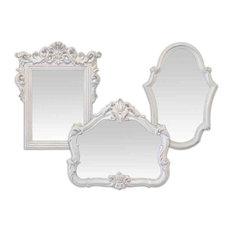 EMDE Ornate White Mirrors, Set of 3