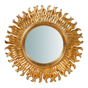 Antique Sun Wall Mirror, Gold, 56x56 cm