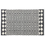 Company C - Odeon Door Mat, 2'x3', Black - Mirroring classic tile flooring, our striking pattern in crisp black and white lends boldness and style indoors-or out. Hand-woven of 100% polyester made from recycled plastic bottles and finished with a lovely, diamond shaped, deco-inspired border.