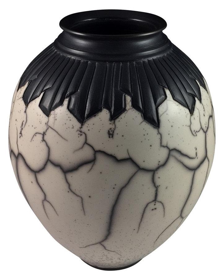 """Naked"" Raku Chisel Carved Vase"