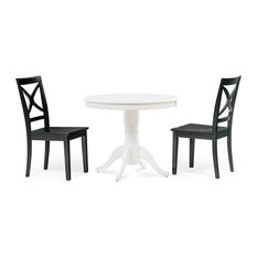 36-inch Round Dining Room Table Chair Set White Table 3 Piece
