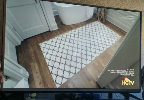 Tile Rug Inlay For Hardwood Kitchen Floor