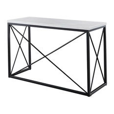 Skyler White Marble Top Rectangle Sofa Table