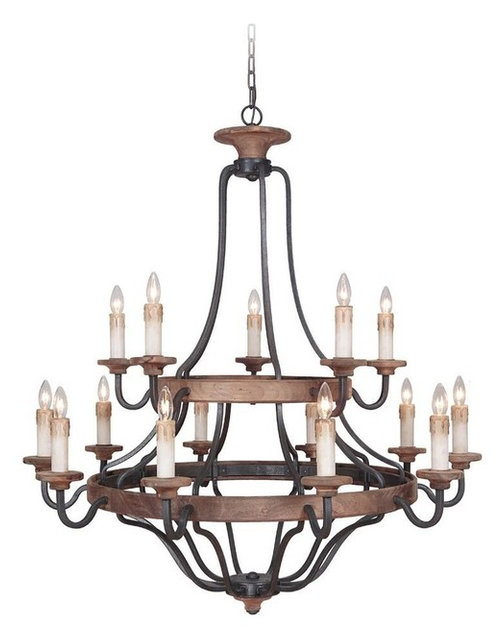 Ashwood 15 Light Chandeliers Textured Black And Whiskey Barrel