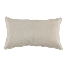 "Cheyenne 100% Leather 14""x26"" Throw Pillow by Kosas Home, Gray"