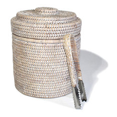White Wash Rattan Ice Bucket Round With  Liner