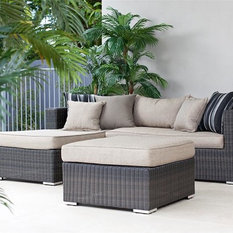 - 3 Pce Lotus Wicker Setting Mocha/River Sand - Outdoor Chaise Lounges