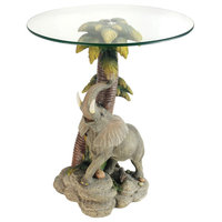 "24"" Tall Glass Top End Table, Polyresin Elephant Base"