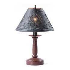 Handcrafted Wood Butchers Table Lamp With Punched Tin Shade, Red