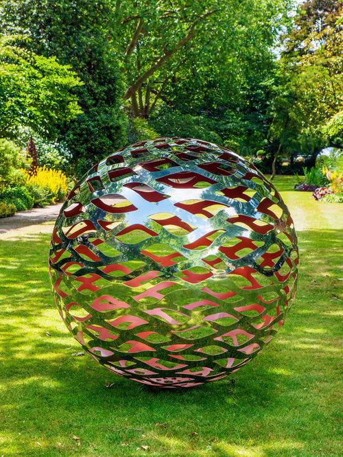 Stainless Steel Garden Sphere   Garden Statues And Yard Art