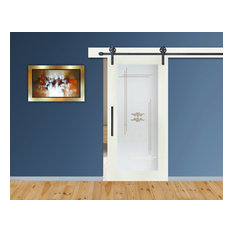 """1 Lite Sliding Barn Door With Glass Insert Opaque Frosted Design, 30""""x84"""", Left"""
