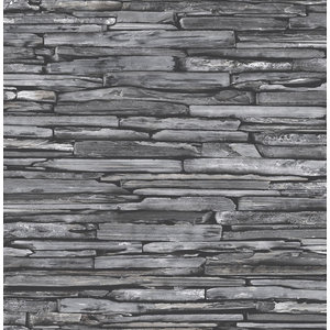 Reclaimed Stacked Slate Wallpaper, Charcoal