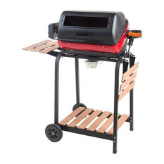 MECO Corporation - Electric Cart Grill With Wood Side Tables, Shelf and Rotisserie - Outdoor Grills