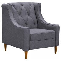 Luxe Mid-Century Sofa Chair, Champagne Wood Finish And Dark Gray Fabric