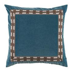 Velvet Square Pillow With Amalfi Tape, Glass