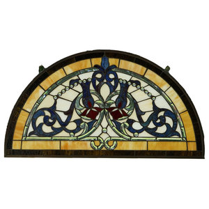 "34""L x 18.25""H Half Round Tiffany Style stained glass window Glass panel"