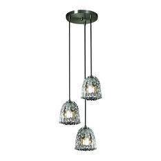 Justice Design Veneto Luce Mini 3-Light Cluster LED Pendant, Brushed Nickel