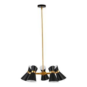 Delano 5-Light Chandelier, Black and Vintage Bronze Finish