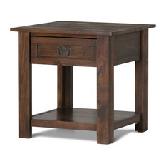 Simpli Home Monroe End Table in Distressed Charcoal Brown